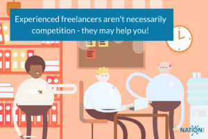 Freelance writer working together with other experienced freelancers on a project
