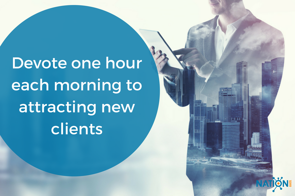 Freelance consultant spending the first hour of his day soliciting new clients