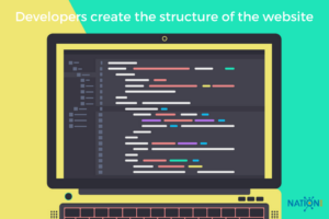 A web developer's screen with code