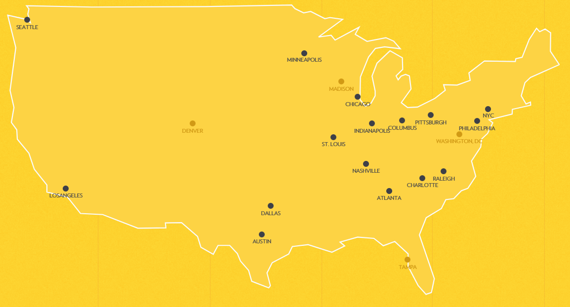 Map of Industrious coworking spaces locations
